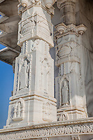 Jaipur, Rajasthan, India.  Religious Syncretism.  Jesus, St. Peter, and Confucius on  Marble Pillars of the Birla Mande Temple, also known as the Laxmi Narayan Temple, a Hindu Temple dedicated to Lord Vishnu (Narayan) and his consort Lakshmi.