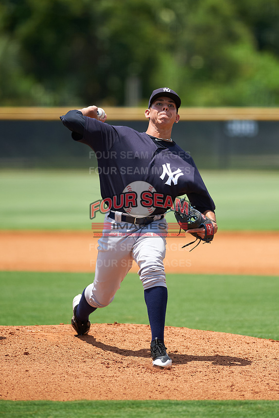 GCL Yankees East relief pitcher Wandy Soto (49) delivers a pitch during the second game of a doubleheader against the GCL Yankees West on July 19, 2017 at the Yankees Minor League Complex in Tampa, Florida.  GCL Yankees West defeated the GCL Yankees East 3-1.  (Mike Janes/Four Seam Images)