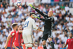 Nauzet Perez of Osasuna competes for the ball with Alvaro Morata of Real Madrid in action during the La Liga match between Real Madrid and Osasuna at the Santiago Bernabeu Stadium on 10 September 2016 in Madrid, Spain. Photo by Diego Gonzalez Souto / Power Sport Images