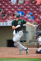 Dayton Dragons third baseman Nick Senzel (12) at bat during a game against the Cedar Rapids Kernels on July 24, 2016 at Perfect Game Field in Cedar Rapids, Iowa.  Cedar Rapids defeated Dayton 10-6.  (Mike Janes/Four Seam Images)