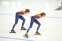 OLYMPIC GAMES: PYEONGCHANG: 09-02-2018, Gangneung Oval, Training session, Annouk van der Weijden (NED), Esmee Visser (NED), ©photo Martin de Jong