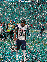 (02/04/2018- Minneapolis, MN) New England Patriots running back Dion Lewis walks off the field after losing Super Bowl LII at US Bank Stadium on Sunday, February 4, 2018. Staff Photo by Matt West