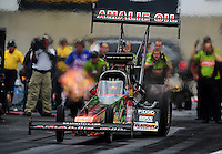 Sept. 30, 2011; Mohnton, PA, USA: NHRA top fuel dragster driver Terry McMillen during qualifying for the Auto Plus Nationals at Maple Grove Raceway. Mandatory Credit: Mark J. Rebilas-