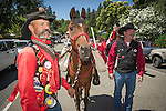 Independence Day celebration Main Street, Mokelumne Hill, California..A Clamper leads his horse.