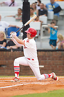 Cole Lankford (12) of the Johnson City Cardinals follows through on his swing against the Elizabethton Twins at Cardinal Park on July 27, 2014 in Johnson City, Tennessee.  The game was suspended in the top of the 5th inning with the Twins leading the Cardinals 7-6.  (Brian Westerholt/Four Seam Images)