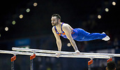 21st March 2018, Arena Birmingham, Birmingham, England; Gymnastics World Cup, day one, mens competition; James Hall (GBR) warming up on the Parallel Bars before the competition begins