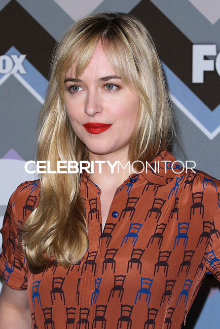 "[(FILE) Actress Dakota Johnson has been cast as the lead actress in ""Fifty Shades of Grey"" (2014 Film) to play character Anastasia Steele on September 2, 2013. Focus Features and Universal Pictures announced Monday, Sept. 2, 2013 that Dakota Johnson will play Anastasia Steele in the big-screen adaptation of E L James' ""Fifty Shades of Grey."" Johnson is the daughter of actors Don Johnson and Melanie Griffith.] PASADENA, CA - JANUARY 08: Dakota Johnson arrives at the 2013 TCA Winter Press Tour - FOX All-Star Party at The Langham Huntington Hotel and Spa on January 8, 2013 in Pasadena, California. (Photo by Xavier Collin/Celebrity Monitor)"