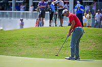 Jon Rahm (ESP) sinks his putt on 15 during round 6 of the World Golf Championships, Dell Technologies Match Play, Austin Country Club, Austin, Texas, USA. 3/26/2017.<br /> Picture: Golffile | Ken Murray<br /> <br /> <br /> All photo usage must carry mandatory copyright credit (&copy; Golffile | Ken Murray)