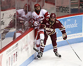 Maddie Elia (BU - 14), Delaney Belinskas (BC - 17) - The Boston College Eagles defeated the Boston University Terriers 3-2 in the first round of the Beanpot on Monday, January 31, 2017, at Matthews Arena in Boston, Massachusetts.