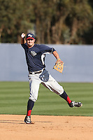 Mitchell Gunsolus (9) of the Gonzaga Bulldogs makes a throw before a game against the Loyola Marymount Lions at Page Stadium on March 27, 2015 in Los Angeles, California. Loyola Marymount defeated Gonzaga 6-5.(Larry Goren/Four Seam Images)