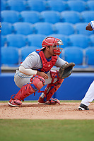 Clearwater Threshers catcher Edgar Cabral (30) waits to receive a pitch during a game against the Dunedin Blue Jays on April 8, 2018 at Dunedin Stadium in Dunedin, Florida.  Dunedin defeated Clearwater 4-3.  (Mike Janes/Four Seam Images)