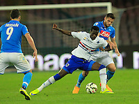 during the Italian Serie A soccer match between   SSC Napoli and UC Sampdoria at San Paolo  Stadium in Naples ,April 26 , 2015