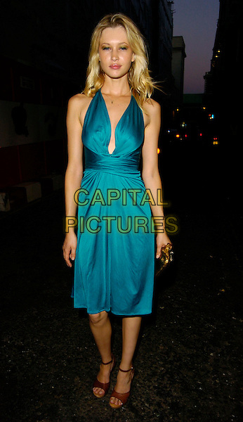 LANDI SWANEPOLE.The Pout Cosmetic Range 5th Birthday Party, Cuckoo Club, London, UK..July 18th, 2006.Ref: CAN.full length plunging neckline turquoise green dress.www.capitalpictures.com.sales@capitalpictures.com.©Can Nguyen/Capital Pictures