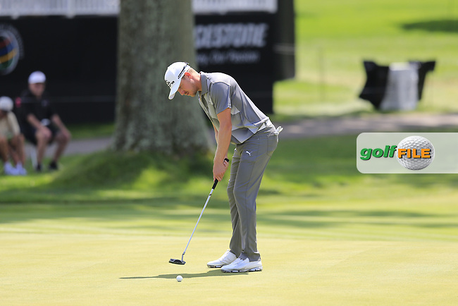 Jonas Blixt (SWE) putts on the 18th green during Thursday's Round 1 of the 2013 Bridgestone Invitational WGC tournament held at the Firestone Country Club, Akron, Ohio. 1st August 2013.<br /> Picture: Eoin Clarke www.golffile.ie