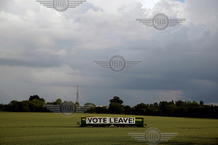 A 'vote leave' (in the EU referendum) sign in a farmer's field outside the town. <br /> The town of Boston had the country's highest proportion of 'leave' votes cast in the EU referendum with almost 76 percent of ballots cast for Brexit. Lincolnshire has, in recent years, seen an influx of EU workers drawn to the area's agricultural industry. The 2011 census found about 13 percent of Boston's residents were born in Eastern Europe and migrated to the UK since 2004.