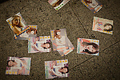Flyers of escort services seen on the floor of an underpass in Central Macau, China.