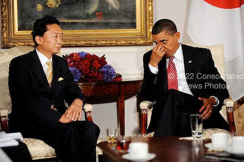 New York, NY - September 23, 2009 -- United States President Barack Obama holds a bilateral meeting with Prime Minister Yukio Hatoyama of Japan at the Waldorf Astoria on Wednesday, September 23, 2009 in New York..Credit: Olivier Douliery - Pool via CNP