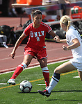 Katherine Orellana of the UNLV Rebels plays against Madison Lorenzen of the Nevada women's soccer game in Reno, Nev., on Sunday, Sept. 3, 2011. UNLV won 2-1..Photo by Cathleen Allison