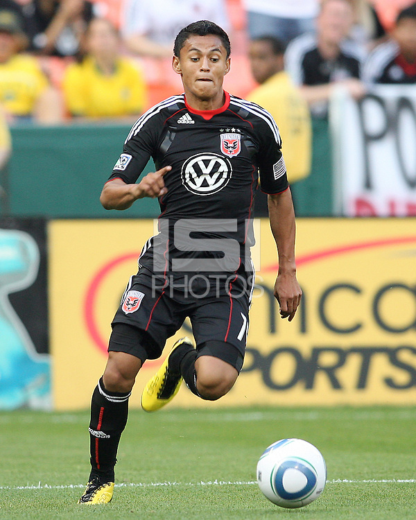 Andy Najar #14 of D.C. United scord the first goal for United during an MLS match against Chivas USA at RFK Stadium, on May 29 2010 in Washington DC. United won 3-2.