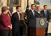 United States President Barack Obama makes remarks on the financial crisis responsibility fee in the Diplomatic Reception Room at the White House in Washington, D.C. on Thursday, January 14, 2010.  From left to right: Christina Roemer, Chairperson, Council of Economic Advisers; U.S. Secretary of the Treasury Timothy Geithner; President Obama; Lawrence Summers, Director, National Economic Council; and Peter Orszag, Director, Office of Management and Budget..Credit: Ron Sachs / Pool via CNP