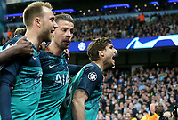 Tottenham Hotspur's Fernando Llorente (right) celebrates with team-mates after scoring his side's third  goal <br /> <br /> Photographer Rich Linley/CameraSport<br /> <br /> UEFA Champions League - Quarter-finals 2nd Leg - Manchester City v Tottenham Hotspur - Wednesday April 17th 2019 - The Etihad - Manchester<br />  <br /> World Copyright © 2018 CameraSport. All rights reserved. 43 Linden Ave. Countesthorpe. Leicester. England. LE8 5PG - Tel: +44 (0) 116 277 4147 - admin@camerasport.com - www.camerasport.com