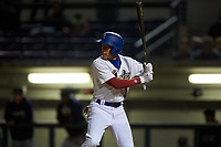 Rancho Cucamonga Quakes center fielder Jeren Kendall (3) at bat during a California League game against the Lake Elsinore Storm at LoanMart Field on May 19, 2018 in Rancho Cucamonga, California. Lake Elsinore defeated Rancho Cucamonga 10-7. (Zachary Lucy/Four Seam Images)
