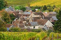 France, Cher (18), région du Berry, Sancerre, Chavignol, maisons du village et le vignoble en automne // France, Cher, Sancerre, Chavignol, houses in the village and vineyard in autumn