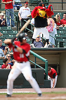 """May 2, 2010:  Mascot """"Spikes"""" for the Rochester Red Wings during a game vs. the Durham Bulls at Frontier Field in Rochester, NY.  Rochester defeated Durham in extra innings by the score of 7-6.  Photo By Mike Janes/Four Seam Images"""