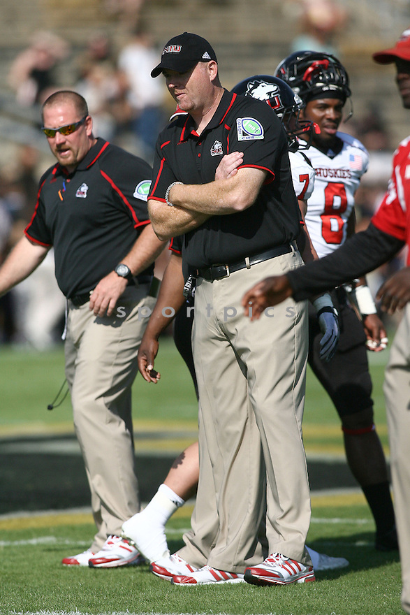 Northern Illinois Huskies Rod Carey (HC) during a game against the Purdue Boilermakers on September 28, 2013 at Ross-Ade Stadium in West Lafayette, IN. NIU beat Purdue 55-24.