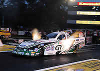 Jun. 1, 2012; Englishtown, NJ, USA: NHRA funny car driver Mike Neff during qualifying for the Supernationals at Raceway Park. Mandatory Credit: Mark J. Rebilas-