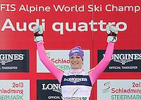 08.02.2013, Planai, Schladming, AUT, FIS Weltmeisterschaften Ski Alpin, Super Kombination, Slalom, Siegerpraesentation, im Bild Maria Hoefl-Riesch (GER, 1. Platz) // 1st place Maria Hoefl-Riesch of Germany on Winners Presentation after Ladies Super Combined Slalom at the FIS Ski World Championships 2013 at the Planai Course, Schladming, Austria on 2013/02/08. EXPA Pictures © 2013, PhotoCredit: EXPA/ Sammy Minkoff ..Schladming 8/2/2013 .Mondiali Sci 2013.Combinata Donne.Foto Insidefoto - ITALY ONLY