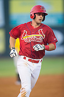 Paul DeJong (21) of the Johnson City Cardinals rounds the bases after hitting a 2-run home run in the second inning against the Bristol Pirates at Howard Johnson Field at Cardinal Park on July 6, 2015 in Johnson City, Tennessee.  The Cardinals defeated the Pirates 8-2 in game two of a double-header. (Brian Westerholt/Four Seam Images)