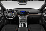 Stock photo of straight dashboard view of 2020 Ford Explorer Limited 5 Door SUV Dashboard