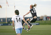 Becky Sauerbrunn #22 of the Washington Freedom leaps for joy after scoring  during a WPS match against the Chicago Red Stars at Maryland Soccerplex on April 11 2009, in Boyd's, Maryland. The game ended in a 1-1 tie