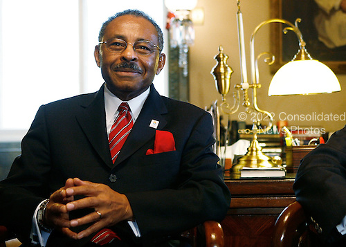 Washington, DC - January 7, 2009 -- Illinois U.S. Senate appointee Roland Burris is seen during a meeting with Senate Majority Leader Harry Reid (D-NV) and Senate Majority Whip Richard Durbin (D-IL) on Capitol Hill , Tuesday, January 7, 2009 in Washington, DC. Burris, who was appointed by Illinois Governor Rod R. Blagojevich to replace President Elect Barack Obama's Senate seat, returned to the Hill for a meeting with Democratic Senate leaders to discuss his appointment to the Senate. .Credit: Alex Wong - Pool via CNP