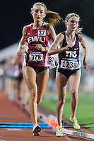 Sarah Reiter (378) East Washington and Karis Jochen (1238) of Texas A&M compete in 10000 meter semifinal during West Preliminary Track and Field Championships, Friday, May 29, 2015 in Austin, Tex. (Mo Khursheed/TFV Media via AP Images)