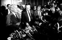 FILE PHOTO  -  Former Queebc Premier<br /> Rene Levesque launch his biography ;  ATTENDEZ QUE JE ME SOUVIENNE, Oct 15, 1986.<br /> <br /> In  background press photographers Pierre Roussel and Michel Ponomareff<br /> <br /> <br /> <br /> <br /> <br /> <br /> <br /> <br /> <br /> <br /> <br /> <br /> <br /> .