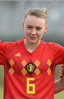 20180314 - TUBIZE , BELGIUM : Belgian Fleur Pauwels pictured during the friendly female soccer match between Women under 15 teams of  Belgium and Gemany , in Tubize , Belgium . Wednesday 14 th March 2018 . PHOTO SPORTPIX.BE / DIRK VUYLSTEKE