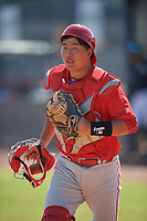Philadelphia Phillies Bruce Wang (5) during a Minor League Spring Training game against the New York Yankees on March 23, 2019 at the New York Yankees Minor League Complex in Tampa, Florida.  (Mike Janes/Four Seam Images)