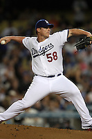 Chad Billingsley #58 of the Los Angeles Dodgers pitches against the San Francisco Giants at Dodger Stadium on May 9, 2012 in Los Angeles,California. Los Angeles defeated San Francisco 6-2.(Larry Goren/Four Seam Images)