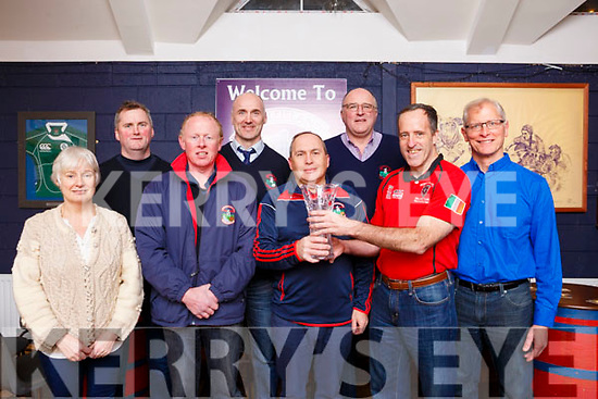 Castleisland Rugby Club welcoming Morris Rugby team from New Jersey, USA and a presentation been made to the Castleisland RFC club.  L-r, Noreen Ui Chathasaigh, Brian Horgan, Colm Nolan, Bill Horgan, Brian O'Sullivan (Club President), Dan Casey (Ex President), Mike Ryan (Captain) and Steve Falatin (Team Physician) of the Morris RFC New Jersey USA.