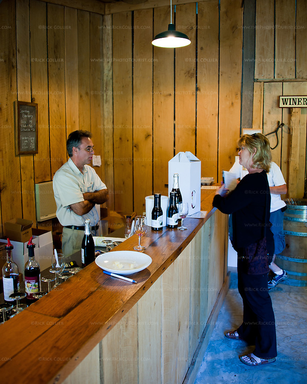Nancy chats with owner Kent Marrs over the tasting bar at Village Winery and Vineyards.