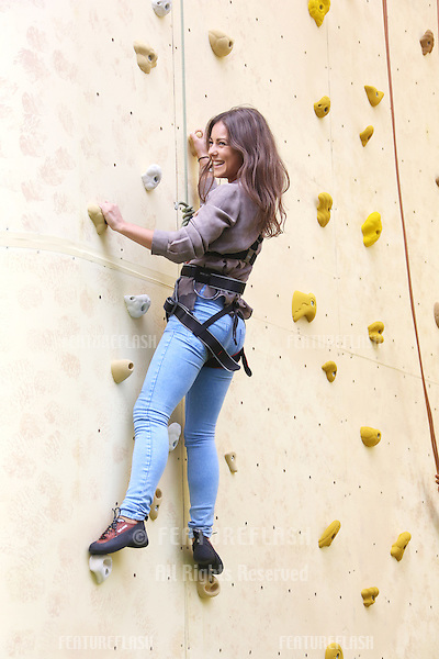 Louise Thompson attending the Walker's Deep Ridged Crisps - Britain's tallest climbing wall challenge - Photocall, held at the Old Truman Brewery, London. 29/08/2012 Picture by: Henry Harris / Featureflash