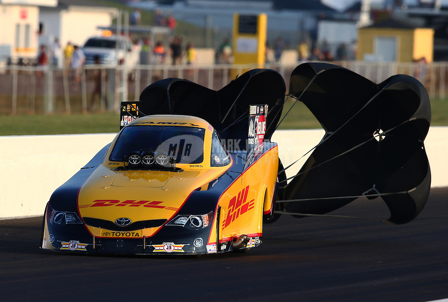 Aug. 30, 2013; Clermont, IN, USA: NHRA funny car driver Del Worsham during qualifying for the US Nationals at Lucas Oil Raceway. Mandatory Credit: Mark J. Rebilas-