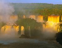 Sunrise Light on Iguazu Falls, Iguazu Falls National Park, Brazil   Huge waterfall in Southern Brazil     UNESCO World Heritage Site