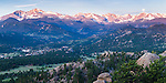 moonset over Continental Divide above town of Estes Park, morning, Rocky Mountains, Colorado, USA