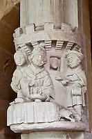 Europe/France/Aquitaine/24/Dordogne/Le Buisson-de-Cadouin: Abbaye de Cadouin - Le Cloître, galerie Est, détail chapiteau: Lazare et le mauvais riche<br /> :