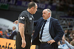 Real Madrid coach Pablo Laso talking with the referee during Liga Endesa match between Real Madrid and Valencia Basket at Wizink Center in Madrid , Spain. March 25, 2018. (ALTERPHOTOS/Borja B.Hojas)