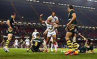 Picture by Vaughn Ridley/SWpix.com - 26/10/2013 - Rugby League - Rugby League World Cup - Australia v England - the Millennium Stadium, Cardiff, Wales - England's Ryan Hall scores the opening try and celebrates with Leroy Cudjoe.
