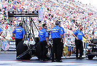 Sept. 14, 2012; Concord, NC, USA: NHRA crew members for top fuel dragster driver Brandon Bernstein during qualifying for the O'Reilly Auto Parts Nationals at zMax Dragway. Mandatory Credit: Mark J. Rebilas-